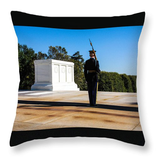 Tomb Guard Throw Pillow featuring the photograph Tomb Guard by William Rogers