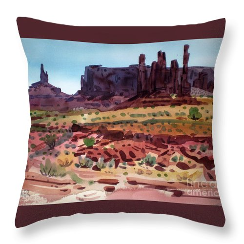 Monument Valley Throw Pillow featuring the painting Totem Poles by Donald Maier
