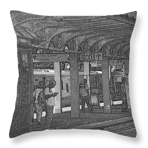 Exit Signs Throw Pillow featuring the photograph Train Station Series by Rhona Lawrence