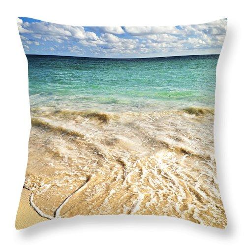 Beach Throw Pillow featuring the photograph Tropical Beach by Elena Elisseeva