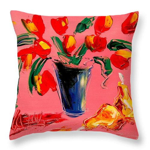Red Poppies Throw Pillow featuring the painting Tulips by Mark Kazav