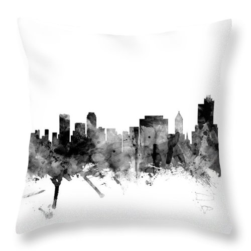 united States Throw Pillow featuring the digital art Tulsa Oklahoma Skyline by Michael Tompsett