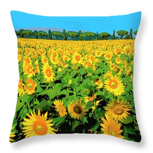 Tuscany Sunflowers Throw Pillow featuring the mixed media Tuscany Sunflowers by Dominic Piperata