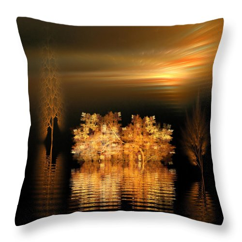Fractal Throw Pillow featuring the digital art Twilight On The Bayou by Richard Ortolano