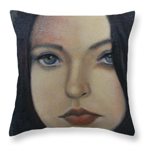 Girl Throw Pillow featuring the painting That Stare by Toni Berry