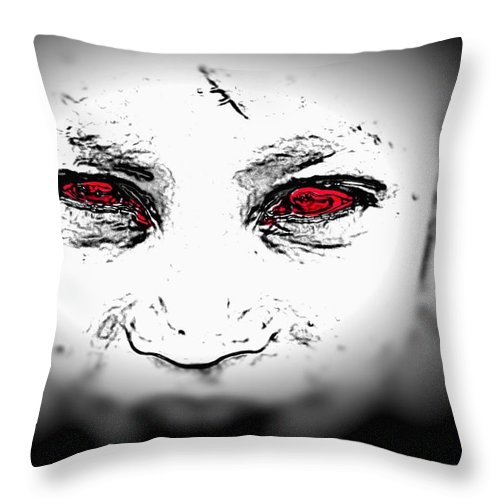 Eyes Face Looks Black And White Red Throw Pillow featuring the digital art Untitled by Veronica Jackson
