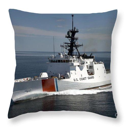 Military Throw Pillow featuring the photograph U.s. Coast Guard Cutter Waesche by Stocktrek Images