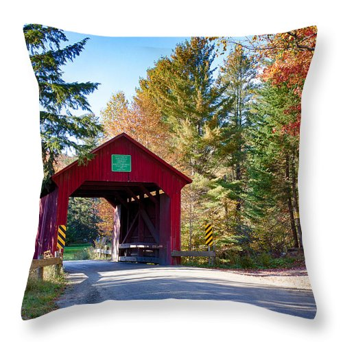 Moseley Covered Bridge Throw Pillow featuring the photograph Vermonts Moseley Covered Bridge by Jeff Folger