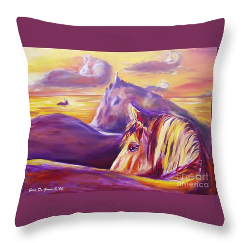 Horses Throw Pillow featuring the painting Horse World by Gina De Gorna