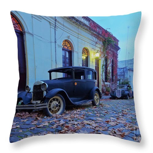 South America Throw Pillow featuring the photograph Vintage Cars In Colonia Del Sacramento, Uruguay by Karol Kozlowski