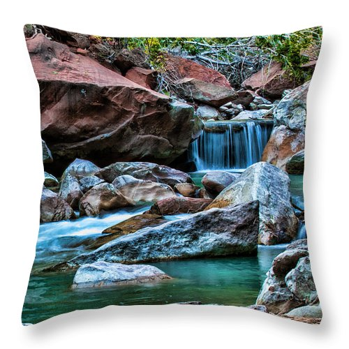 Zion Throw Pillow featuring the photograph Virgin River Zion by George Buxbaum