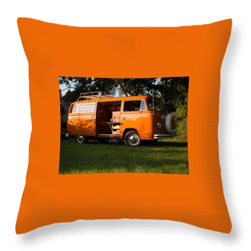 Volkswagen Bus T2 Westfalia Throw Pillow featuring the photograph Volkswagen Bus T2 Westfalia 2 by Jackie Russo