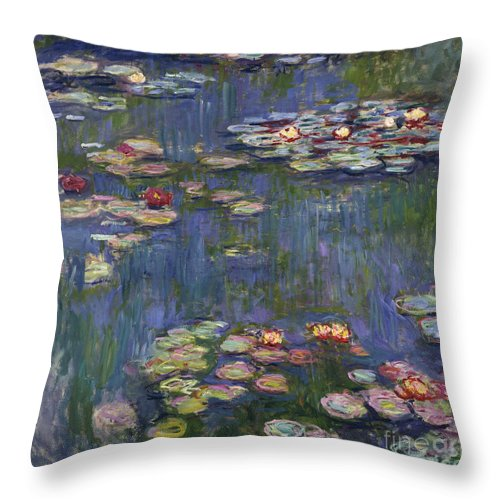 Monet Throw Pillow featuring the painting Water Lilies, 1916 by Claude Monet