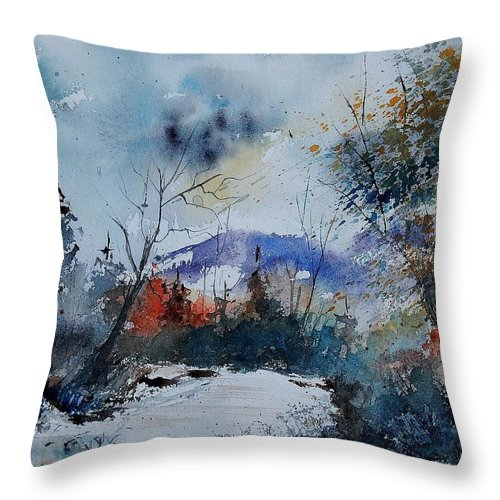Winter Throw Pillow featuring the painting Watercolor 802120 by Pol Ledent