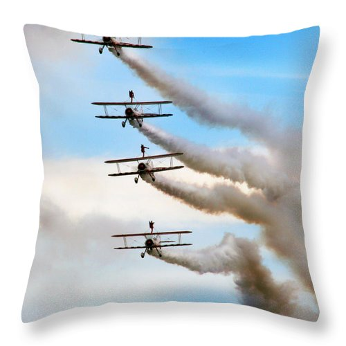 Airshow Throw Pillow featuring the photograph Windwalkers by Angel Ciesniarska