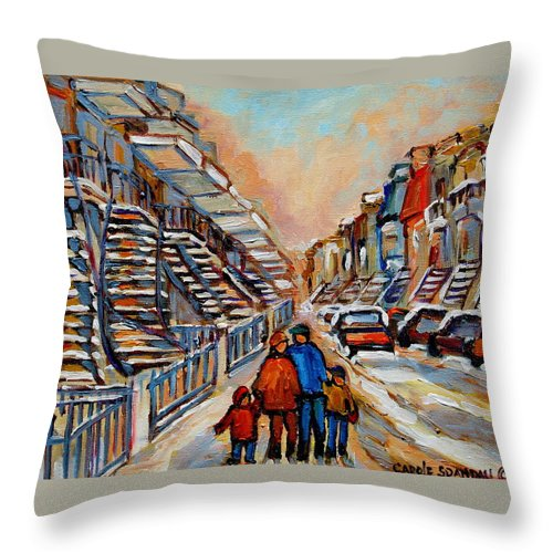Montreal Throw Pillow featuring the painting Winter Walk In Montreal by Carole Spandau