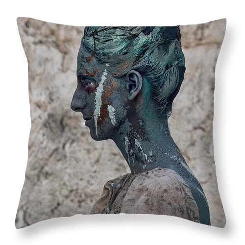 Antik Throw Pillow featuring the photograph Woman In Bronze Statue Look With Patina Body Paint by Veronica Azaryan