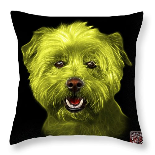 Westie Dog Throw Pillow featuring the mixed media Yellow West Highland Terrier Mix - 8674 - Bb by James Ahn
