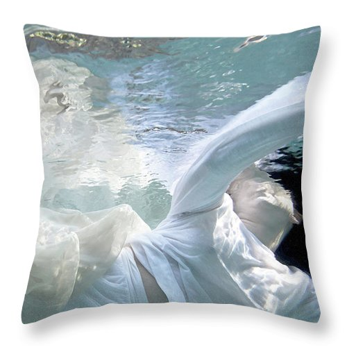 Water Throw Pillow featuring the painting You Are The Ocean And I Am Drowning by Glennis Siverson