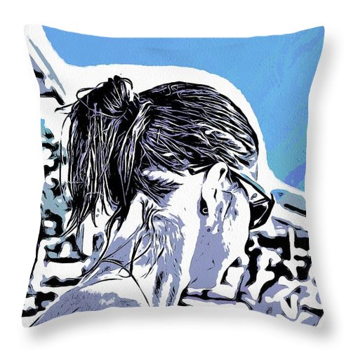 Nature Throw Pillow featuring the mixed media you by Yury Bashkin