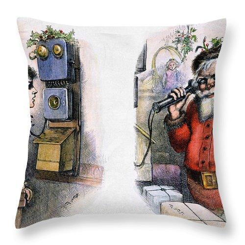 1884 Throw Pillow featuring the photograph Thomas Nast: Santa Claus by Granger