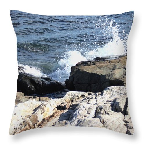 Seacoast Throw Pillow featuring the pyrography 2010 Nh Seacoast 3 by Robert Morin
