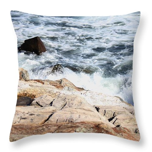 Seacoast Throw Pillow featuring the pyrography 2010 Nh Seacoast 4 by Robert Morin