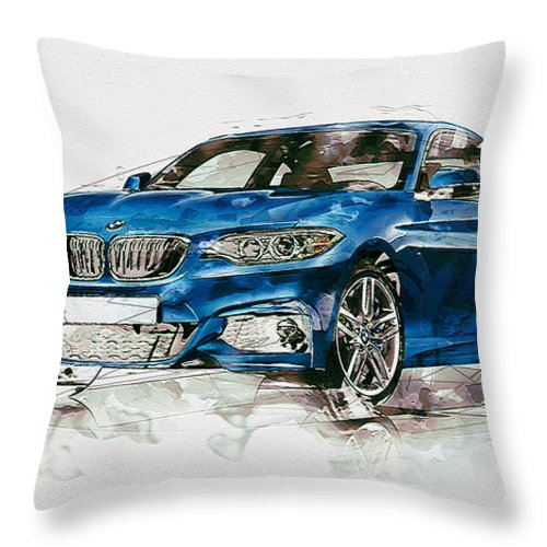Wheels Of Fortune By Serge Averbukh Throw Pillow featuring the photograph 2014 B M W 2 Series Coupe With 3d Badge by Serge Averbukh