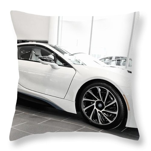 Bmw Throw Pillow featuring the photograph 2014 Bmw E Drive I8 by Aaron Berg