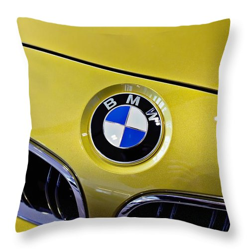 Bmw Throw Pillow featuring the photograph 2015 Bmw M4 Hood by Aaron Berg