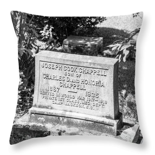Cemetery Throw Pillow featuring the photograph 201406030-016k Old Brick Church Head Stone Bw 3x2 by Alan Tonnesen