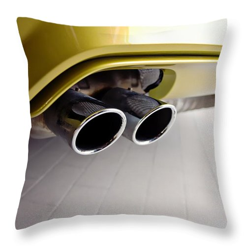 2015 Bmw M4 Throw Pillow featuring the photograph 2015 Bmw M4 Exhaust by Aaron Berg
