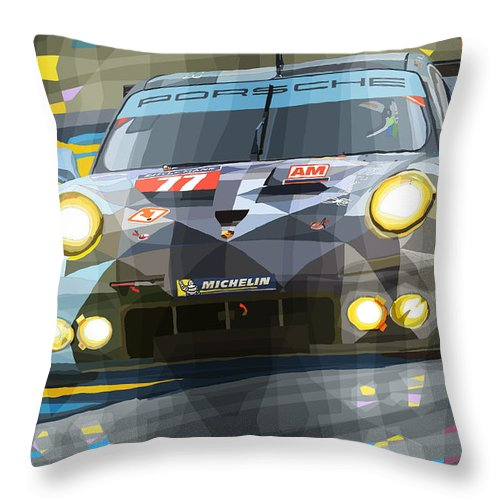 Automotive Throw Pillow featuring the digital art 2015 Le Mans GTE-Am Porsche 911 RSR by Yuriy Shevchuk