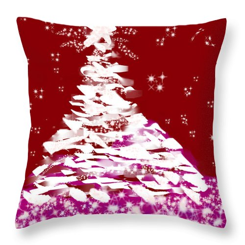 Inspire Throw Pillow featuring the drawing 2017 Christmas Tree  3rd In Series by Sharon Augustin