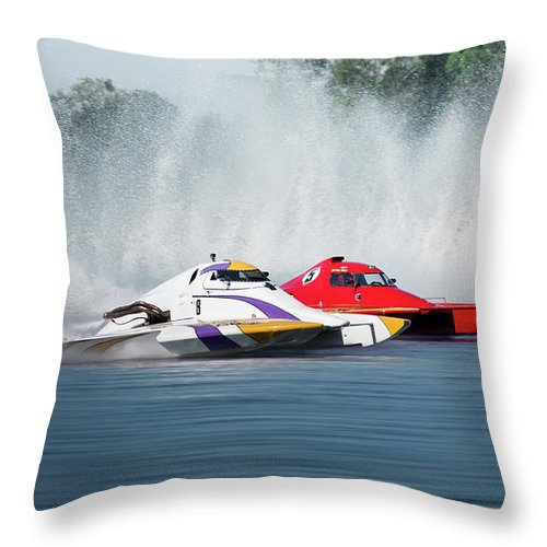 2017 Taree Race Boats Throw Pillow featuring the digital art 2017 Taree Race Boats 05 by Kevin Chippindall