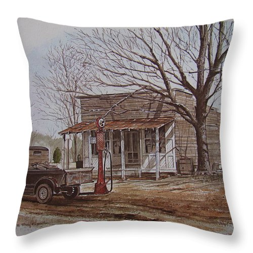 Truck Throw Pillow featuring the painting 21 Cents A Gallon by Charles Roy Smith