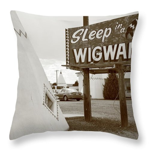 66 Throw Pillow featuring the photograph Route 66 - Wigwam Motel by Frank Romeo