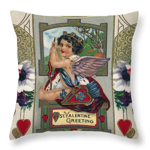 1912 Throw Pillow featuring the photograph Valentines Day Card by Granger