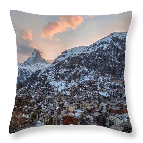 Matterhorn Throw Pillow featuring the photograph Zermatt - Switzerland by Joana Kruse
