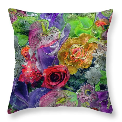 Abstract Throw Pillow featuring the painting 21a Abstract Floral Painting Digital Expressionism by Ricardos Creations