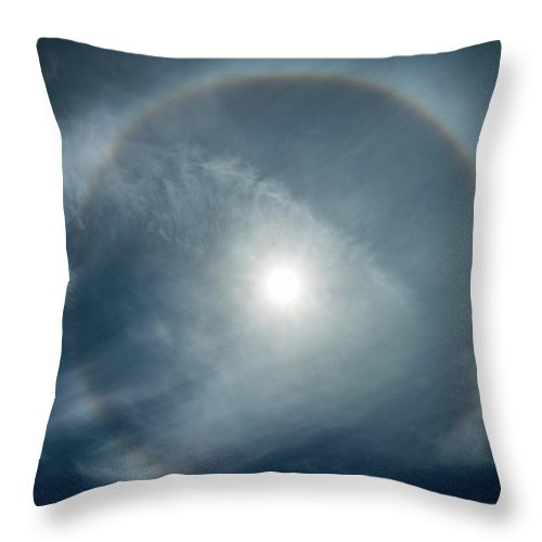 22 Degree Halo Throw Pillow featuring the photograph 22 Degree Solar Halo by William Freebilly photography