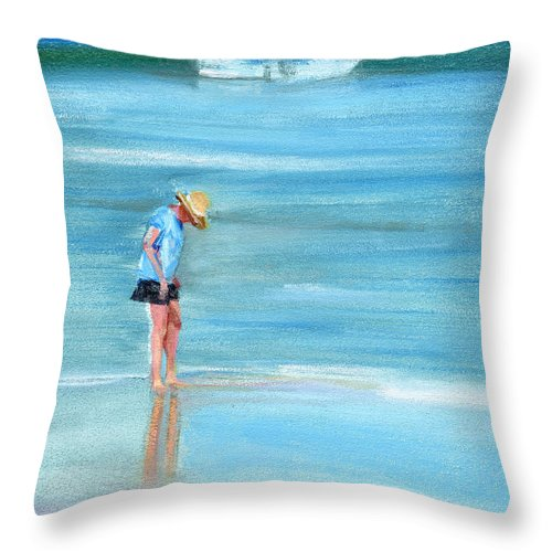Beach Throw Pillow featuring the painting Rcnpaintings.com by Chris N Rohrbach