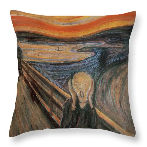 Munch Throw Pillow featuring the painting The Scream by Edvard Munch