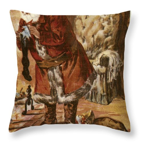19th Century Throw Pillow featuring the photograph American Christmas Card by Granger