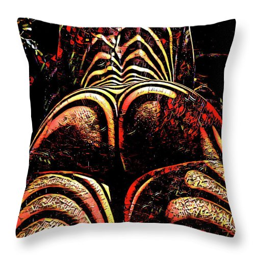 2574s Res Zebra Striped Booty Rendered As Abstract Oil Painting Throw Pillow For Sale By Chris Maher