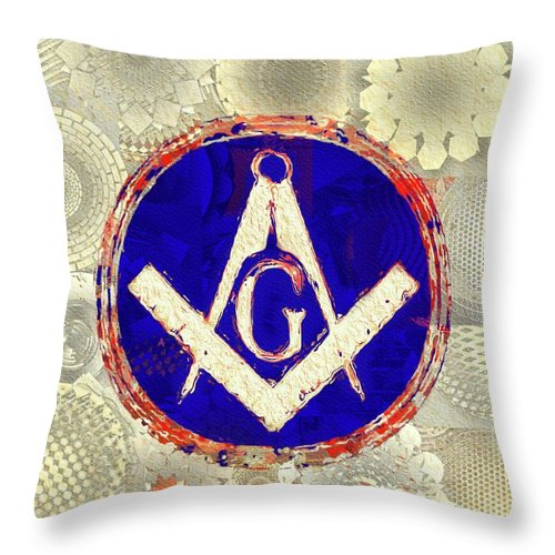 Freemason Throw Pillow featuring the painting Freemason, Masonic, Symbols by Pierre Blanchard