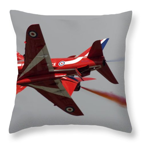 Airshow Throw Pillow featuring the photograph Red Arrows by Angel Ciesniarska