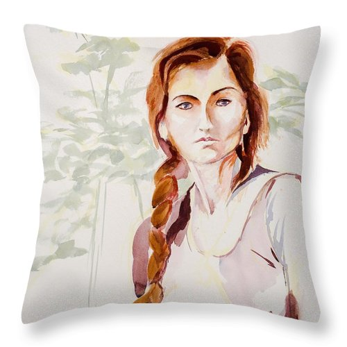 Ponytail Throw Pillow featuring the painting 28 by Gene Traganza