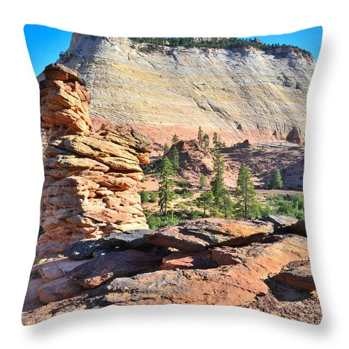 Zion National Park Throw Pillow featuring the photograph Zion National Park by Ray Mathis