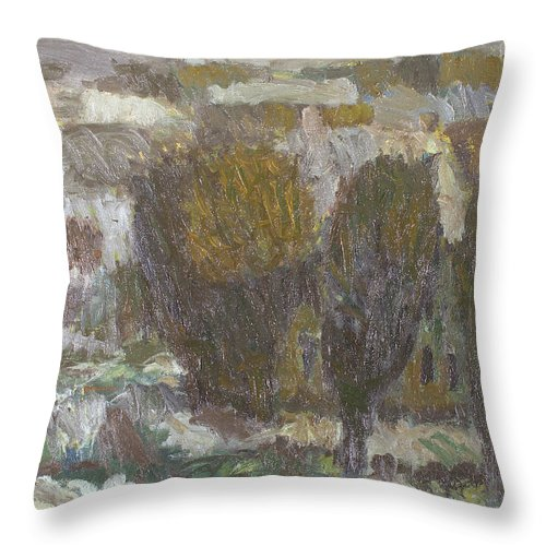 Snow Throw Pillow featuring the painting Village by Robert Nizamov